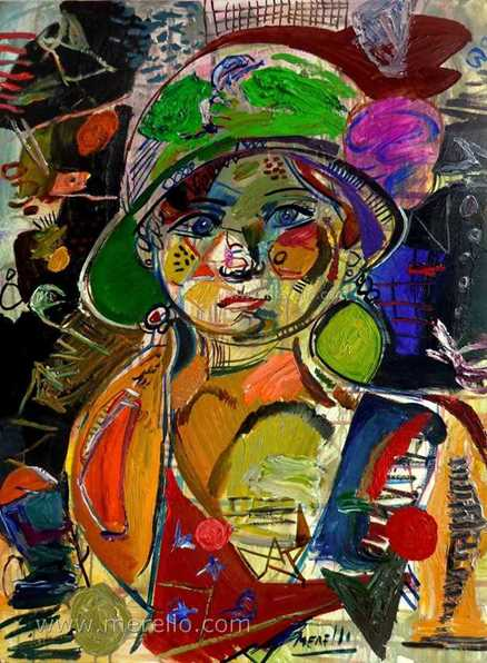 ART CONTEMPORAIN. Jose Manuel Merello.-Girl with hat green (73 x 54 cm) Mix media sur toile