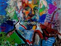 ART-CONTEMPORAIN-MODERNE.-merello.-einstein (73x54 cm) mix media on table