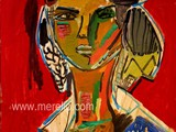 ART_CONTEMPORAIN.ARTISTES_CONTEMPORAINES_PEINTRES._Merello.-Figura_sobre_fondo_rojo_(73_x_54_cm)_Mix_media_on_wood.