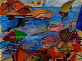 ART_CONTEMPORAIN.ARTISTES_CONTEMPORAINES_PEINTRES._Merello.-Sal_azul._Mix_media.
