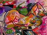 acheter-de-l-art.-tableaux-contemporain.-peintures-merello.-mujer-recostada-en-el-sillon-rosa-(54-x-73-cm)-mix-media-on-wood.