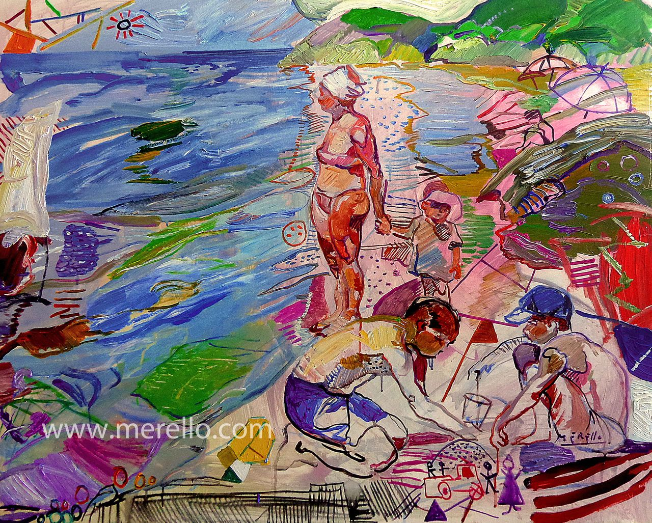 "ART CONTEMPORAIN SIECLE 21 XXI.-Jose Manuel Merello.-""Mirando el mar""(81 x 100cm) Toile. Peinture espagnole contemporaine."